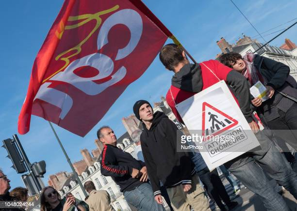 Several thousand people took part in an interprofessional demonstration in Nantes France on 9 October 2018 answering the national call of the unions...