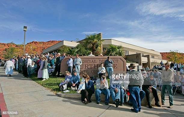 Several thousand polygamy supporters from Colorado City, Arizona gather at the Fourth District Courthouse, November 14, 2008 in St. George, Utah....