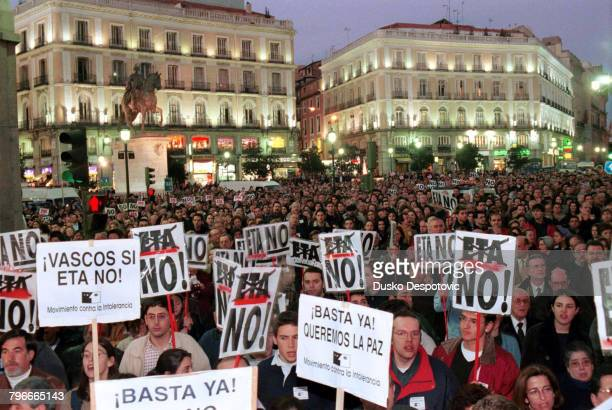 Several thousands of people protested against the assassination of FBuesa Blanco JDiez Elorza
