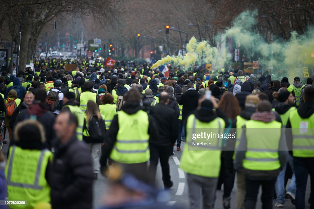 Yellow Vests Act VII Protest In Toulouse : News Photo