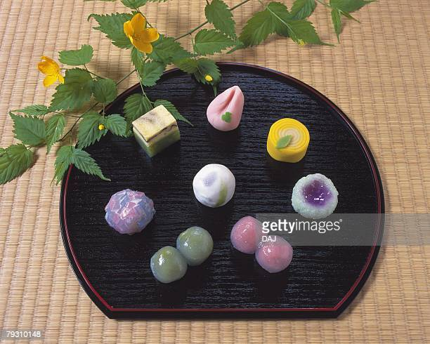 several types of japanese sweets on plate, wagashi, high angle view - 和菓子 ストックフォトと画像
