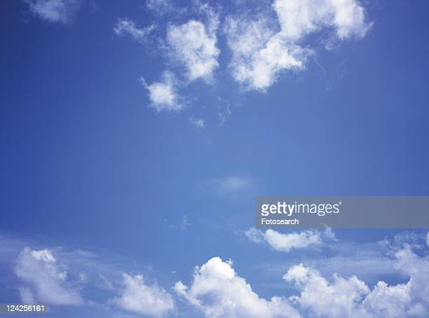 Several White Clouds Floating in the Blue Sky, Low Angle View