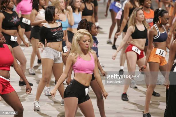 Several women audition for the Charlotte Bobcats 2004-2005 dance team at the Charlotte Coliseum on June 5, 2004 in Charlotte, North Carolina. NOTE TO...