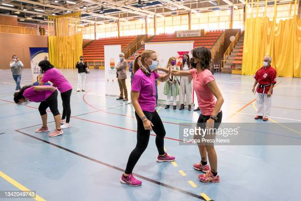 Several women play sports during a meeting in Alcorcon, at the Los Cantos Sports Centre, on 23 September, 2021 in Alcorcon, Madrid, Spain. In this...