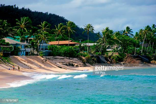 Severe beach erosion in Ehukai Beach or Banzai Pipeline North Shore of Oahu Hawaii USA