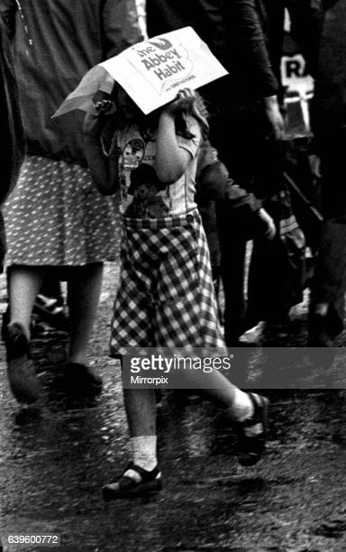 Severe stormy weather with torrential rain and flooding at the annual Summer Exhibition on the Newcastle Town Moor on August 1, 1980.