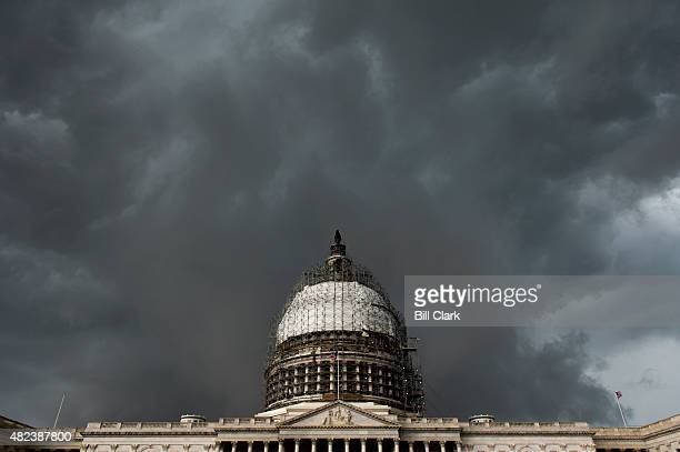 A severe thunderstorm passes over the US Capitol on Thursday July 30 2015