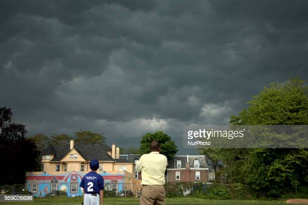 Severe weather builds up over Northwest Philadelphia PA on Primary Election Day May 15 2018
