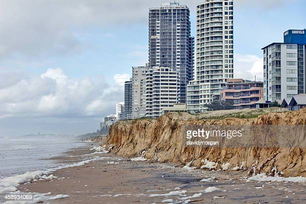 severe weather causes beach erosion after storm activity - eroded stock pictures, royalty-free photos & images