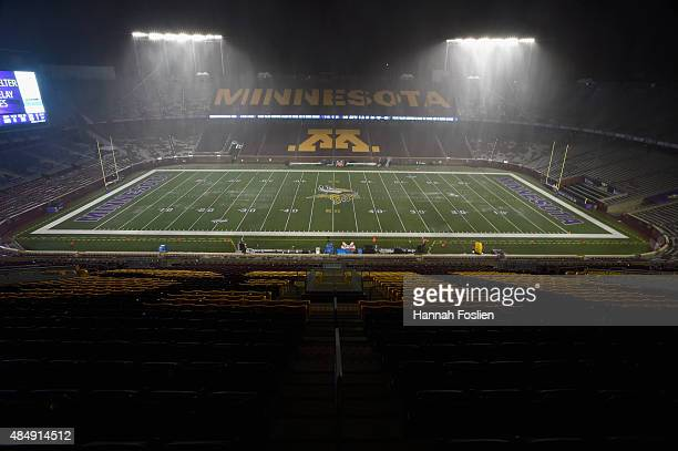 Severe weather interrupts the preseason game between the Minnesota Vikings and the Oakland Raiders during the second quarter on August 22 2015 at TCF...