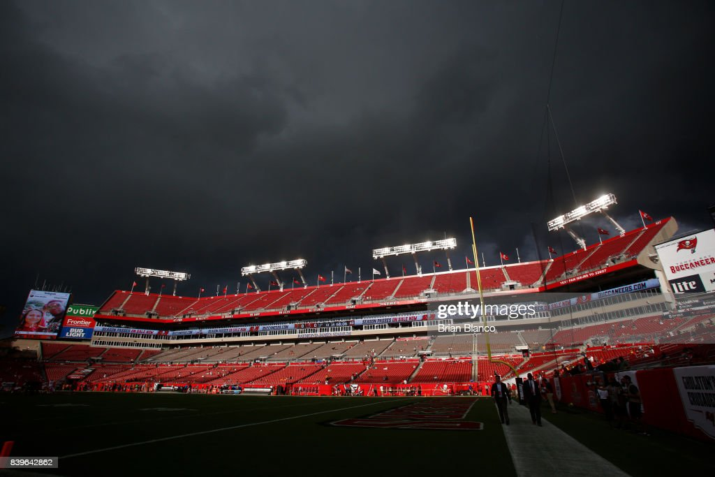 Severe weather moves over Raymond James Stadium and empties the stands of fans before the start of an NFL preseason football game between the Tampa Bay Buccaneers and the Cleveland Browns on August 26, 2017 in Tampa, Florida.