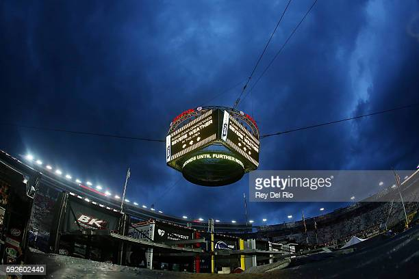 A severe weather warning is seen on the Colossus scoreboard prior to the NASCAR Sprint Cup Series Bass Pro Shops NRA Night Race at Bristol Motor...