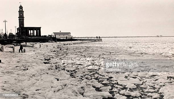 Severe winter weather has caused the sea to freeze at Herne Bay in Kent, circa 1963.