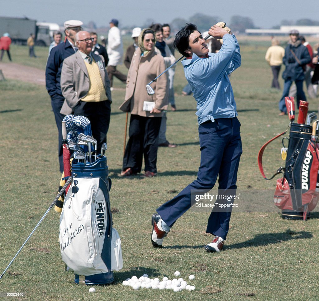 Severiano Ballesteros (blue jacket) during a practice session at the Penfold PGA Tournament at the Royal St George's Golf Club in Kent, circa 1976.