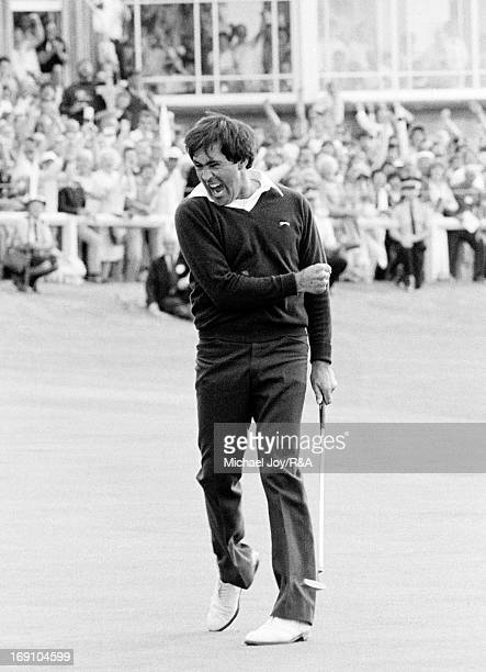 Severiano Ballesteros of Spain celebrates holing his winning putt for birdie on the 18th green during the final round of the 1984 Open Championship...
