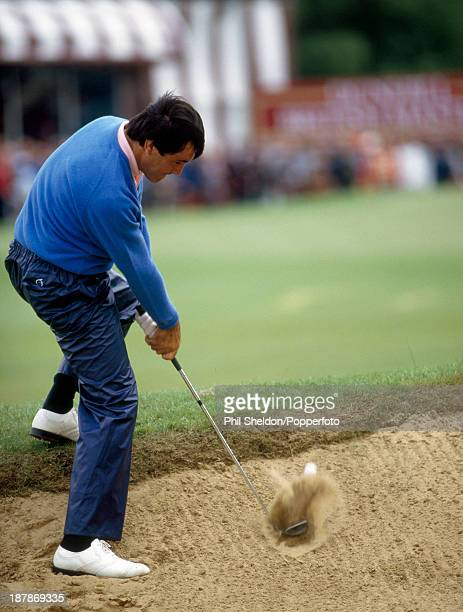 Severiano Ballesteros of Spain hitting out of a bunker during the British Masters Golf Tournament held at the Woburn Golf Club Buckinghamshire circa...
