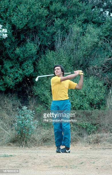 Severiano Ballesteros of Spain tracking his shot during the British Open Golf Championship held at the Royal Birkdale Golf Club Merseyside circa July...