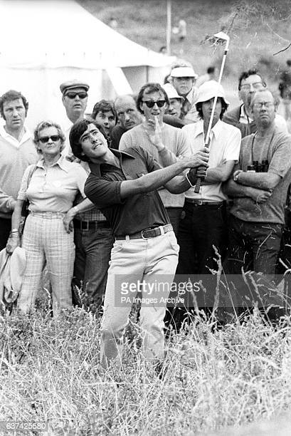 Severiano Ballesteros plays out of the rough