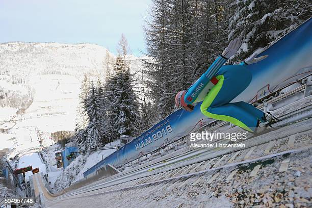 Severin Freund of Germany competes at the qualification round for the FIS Ski Flying World Championship 2016 during day 1 at the Kulm on January 14...