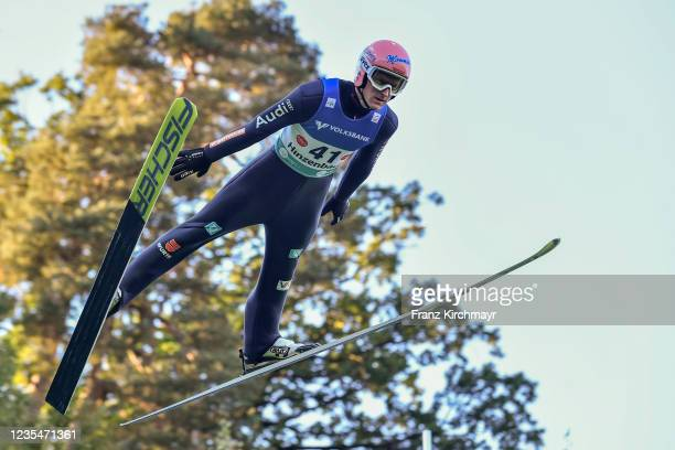 Severin Freund of Germany competes during the FIS Grand Prix Skijumping Hinzenbach at on February 6, 2021 in Eferding, Austria.