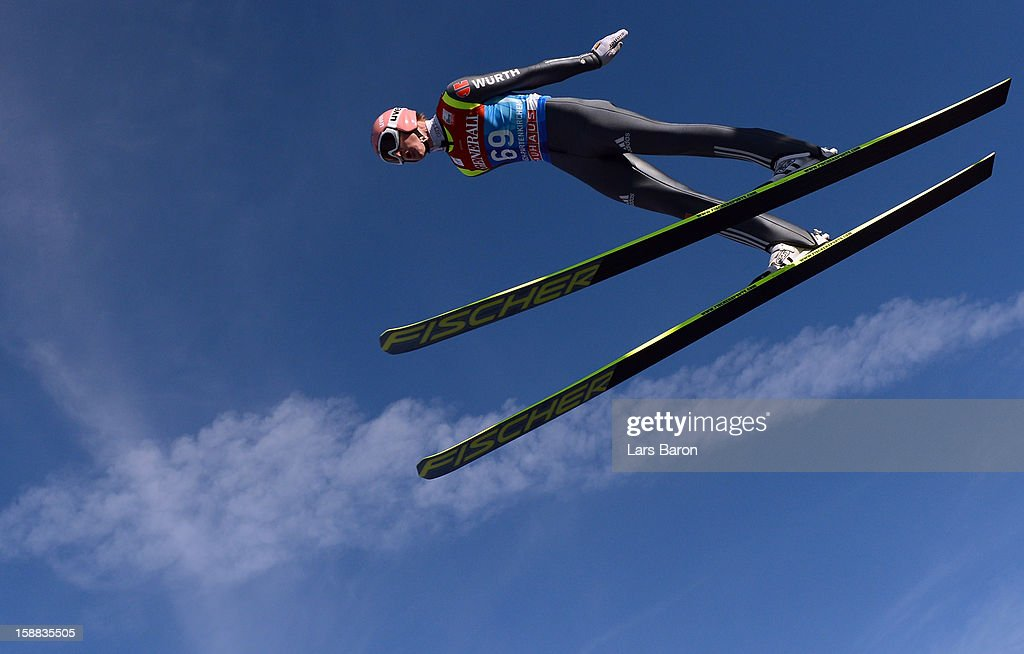 Severin Freund of Germany competes during the trial round for the FIS Ski Jumping World Cup event at the 61st Four Hills ski jumping tournament at Olympiaschanze on December 31, 2012 in Garmisch-Partenkirchen, Germany.