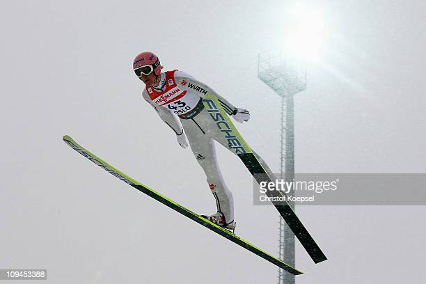 Severin Freund of Germany competes in the Men's Ski Jumping HS106 competition during the FIS Nordic World Ski Championships at Holmenkollen on...