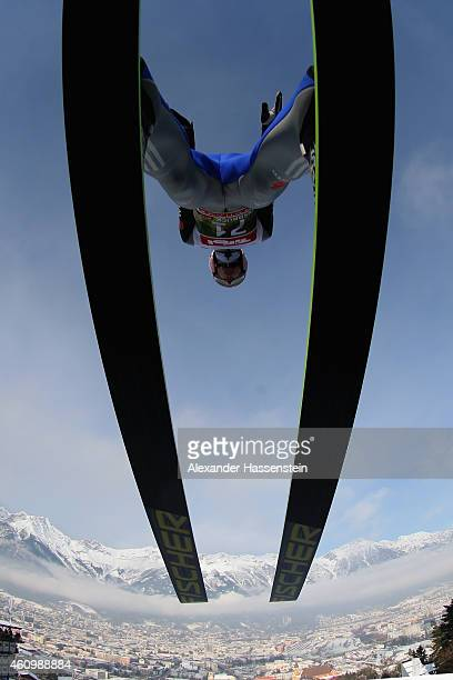 Severin Freund of Germany competes on day 5 of the Four Hills Tournament Ski Jumping event at BergiselSchanze on January 3 2015 in Innsbruck Austria