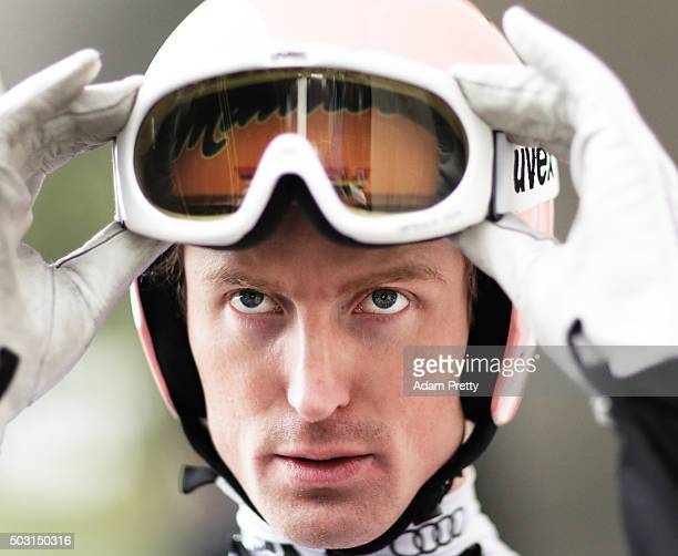 Severin Freund of Germany prepares for his practice jump on Day 1 of the Innsbruck Four Hills Tournament on January 2 2016 in Innsbruck Austria