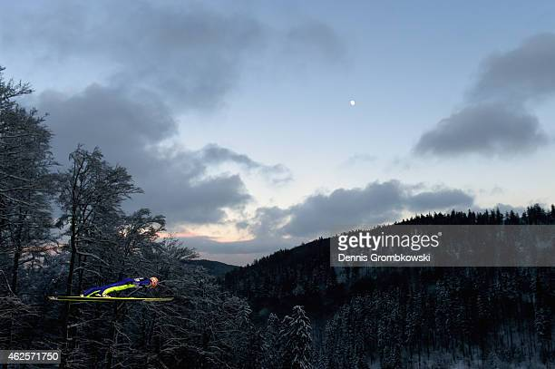 Severin Freund of Germany soars through the air during the Large Hill Team competition on day two of the FIS Ski Jumping World Cup on January 31 2015...