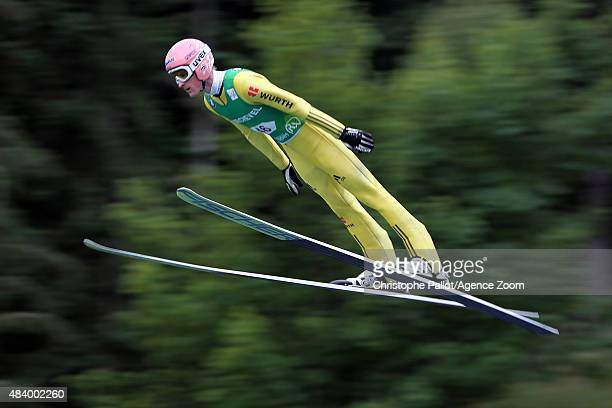 Severin Freund of Germany takes 1st place during the FIS Ski Jumping Grand Prix Men's HS132 and Women's HS96 in Courchevel France