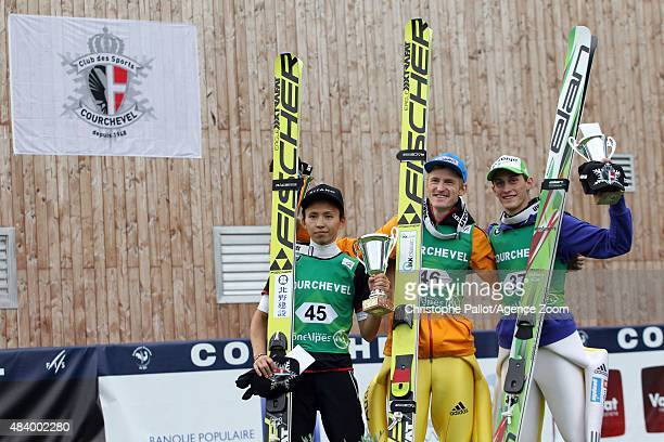 Severin Freund of Germany takes 1st place Kento Sakuyama of Japan takes 2nd place Peter Prevc of Slovenia takes 3rd place during the FIS Ski Jumping...