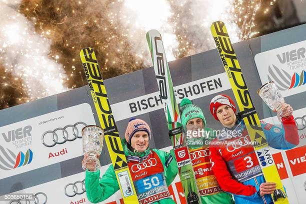 Severin Freund of Germany takes 2nd placePeter Prevc of Slovenia takes 1st place Michael Hayboeck of Austria takes 3rd place the FIS Nordic World Cup...