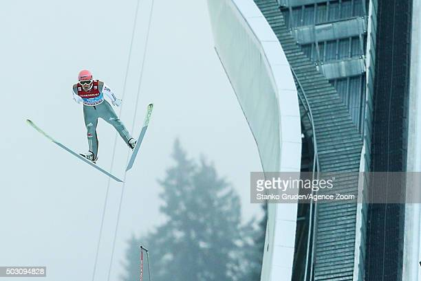 Severin Freund of Germany takes 3rd place during the FIS Nordic World Cup Four Hills Tournament on January 1 2016 in GarmischPartenkirchen Germany
