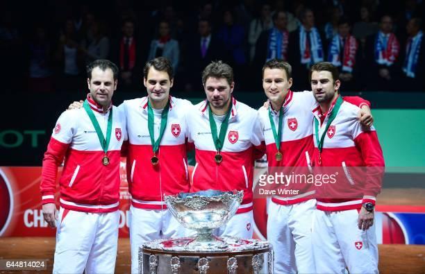 Severin LUTHI / Roger FEDERER / Stanislas WAWRINKA / Michael LAMMER / Marco CHIUDINELLI - - France / Suisse - Finale Coupe Davis -, Photo : Dave...