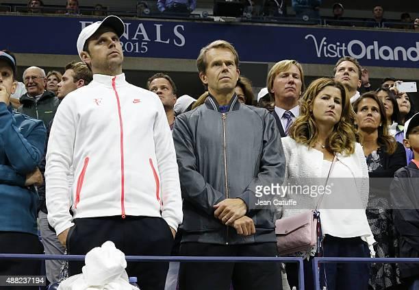 Severin Luthi Stefan Edberg coach of Roger Federer Mirka Federer his wife look on during the Men's Singles Final trophy ceremony on day fourteen of...