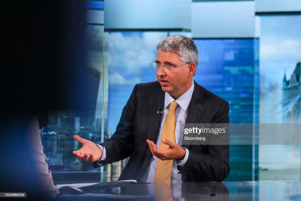 Severin Schwan, chief executive officer of Roche Holding AG, gestures while speaking during a Bloomberg Television interview in London, U.K., on Thursday, Sept. 13, 2018. Roche growth prospects are improving thanks to multiple sclerosis drug Ocrevus, Schwan said in the interview. Photographer: Simon Dawson/Bloomberg via Getty Images