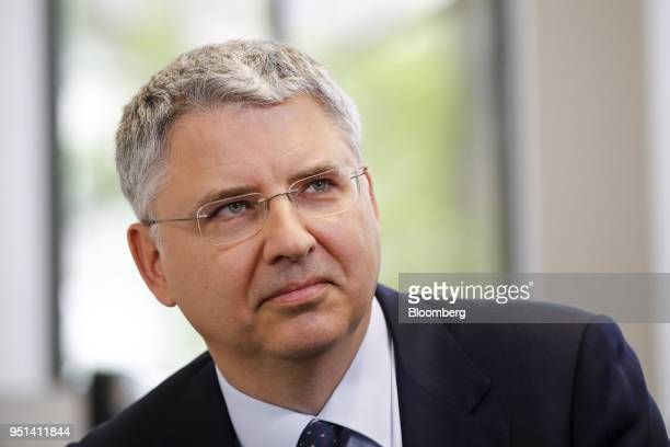 Severin Schwan chief executive officer Roche Holding AG pauses during a Bloomberg Television interview in Basel Switzerland on Thursday April 26 2018...