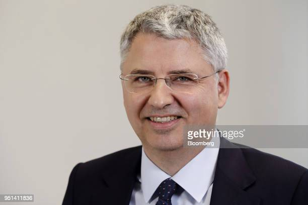 Severin Schwan chief executive officer Roche Holding AG poses for a photograph following a Bloomberg Television interview in Basel Switzerland on...