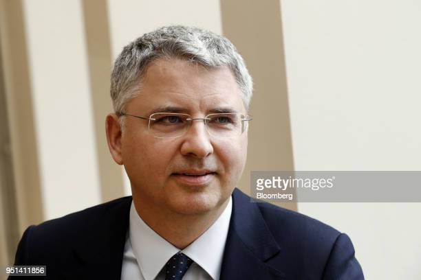 Severin Schwan chief executive officer Roche Holding AG speaks during a Bloomberg Television interview in Basel Switzerland on Thursday April 26 2018...