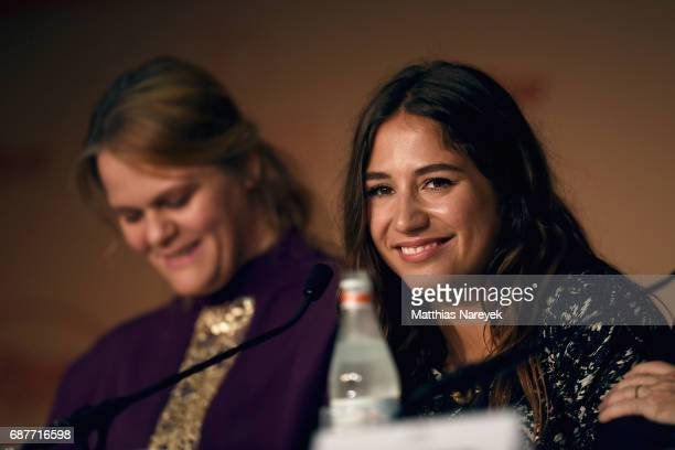 Severine Caneele and Izia Higelin attend the 'Rodin' press conference during the 70th annual Cannes Film Festival at Palais des Festivals on May 24...