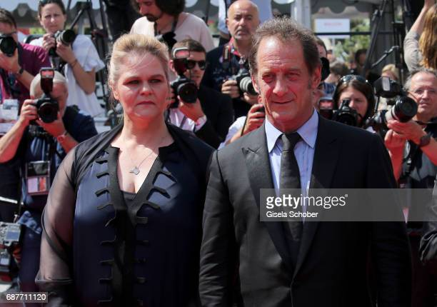 Severine Caneele and Vincent Lindon attend the 'Rodin' screening during the 70th annual Cannes Film Festival at Palais des Festivals on May 24 2017...