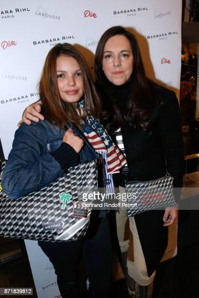 "Severine Ferrer and Barbara Rihl attend Reem Kherici signs her book ""Diva"" at the Barbara Rihl Boutique on November 8, 2017 in Paris, France."
