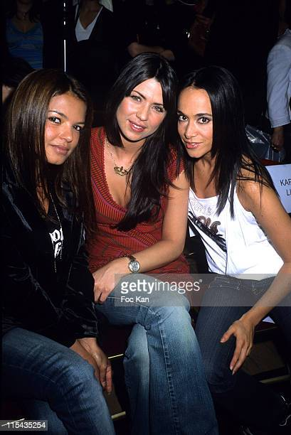 Severine Ferrer Ginie Line and Karine Lima during Psssy Teen Princess 2006 Election at Galeries Lafayette in Paris France