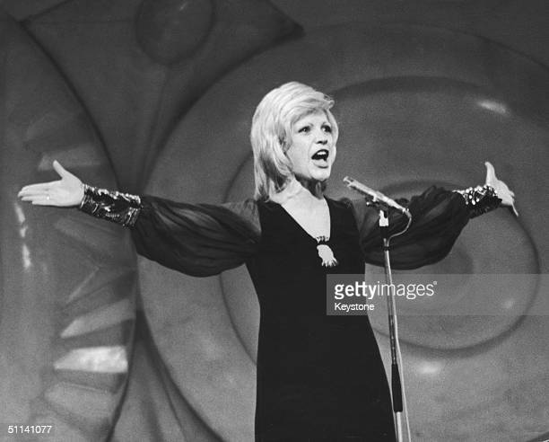 Severine of Monaco performs her winning song 'Un Banc Un Arbre Une Rue' at the Eurovision Song Contest held in Dublin 3rd April 1971
