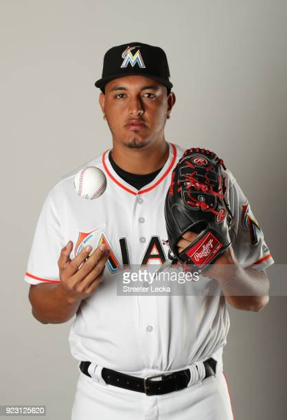 Severino Gonzalez of the Miami Marlins poses for a portrait at The Ballpark of the Palm Beaches on February 22 2018 in Jupiter Florida