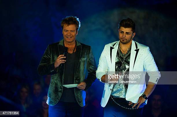 Severino Seeger and Oliver Geissen during the 'Deutschland sucht den Superstar' show from Balver Hoehle on April 29 2015 in Balve Germany