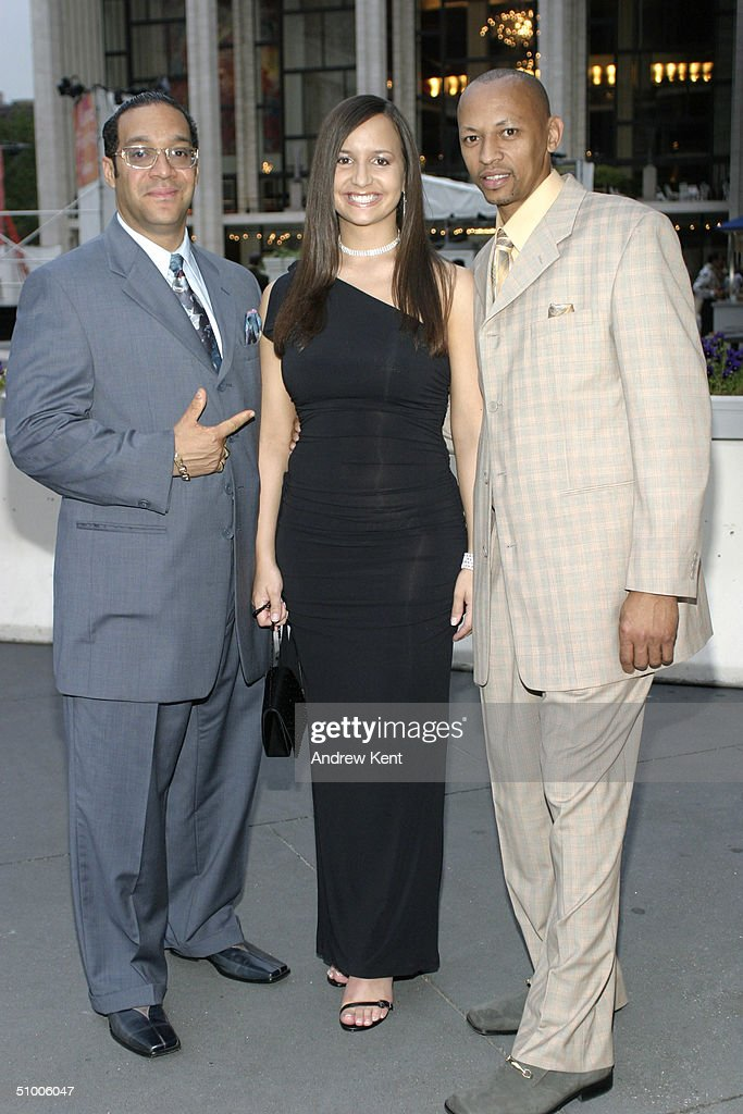 Severino the Jewler, actress and singer Zandra, and rapper and producer El Nino pose outside before MODA Entertainment's Tribute Screening Of 'Pride Of The Yankees' at Lincoln Center on June 28, 2004 in New York City.