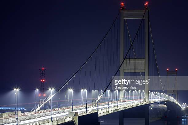 UK, Severn Bridge, Illuminated suspended bridge at night