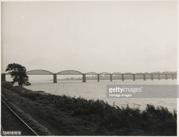 Severn Bridge, Lydney, Forest of Dean, Gloucestershire, 1951. The Severn Bridge, viewed from the South Wales Railway on the west bank of the River...