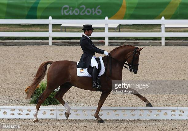 Severo Jesus Jurado Lopez of Spain riding Lorenzo during the final day of the Dressage Grand Prix event on Day 7 of the Rio 2016 Olympic Games held...